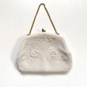 Vintage 1960s White Beaded Small Evening Bag